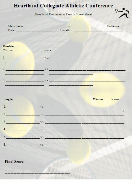 Tennis Score Sheet Template Graphics and Templates
