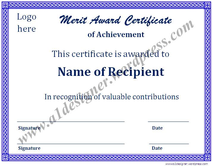 Merit Certificate Sample merit certificate templates best 10
