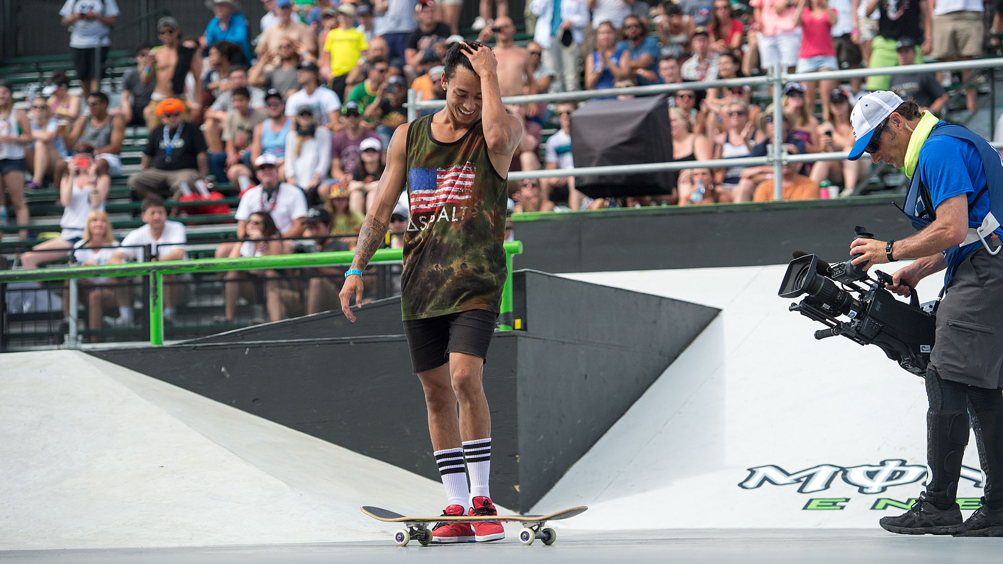 The only person who could beat nyjah s huston s first run score was huston himself