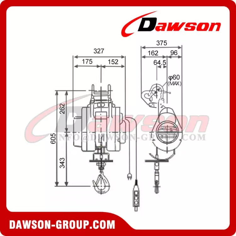 Suspension Mini Electric Wire Rope Hoist for Ware House, Suspending