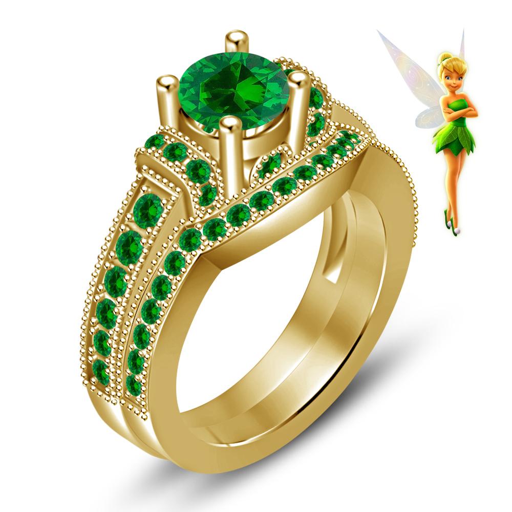 green sapphire 14k yellow gold over silver handmade tinker bell disney fairies wedding ring disney wedding ring Green Sapphire 14K Yellow Gold Over Silver Handmade Tinker Bell Disney Fairies Wedding Ring
