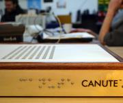 A close-up of the Canute refreshable Braille reader