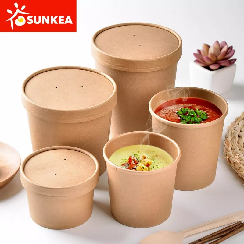 Custom Printed Disposable Pe Lined Hot Soup Bowls Paper