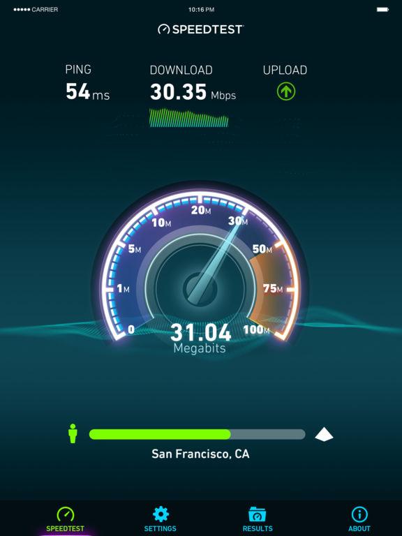 Speedtest.net Speed Test Screenshot