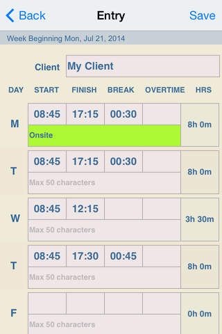 Timesheet Plus free iPhone / iPad app App Decide
