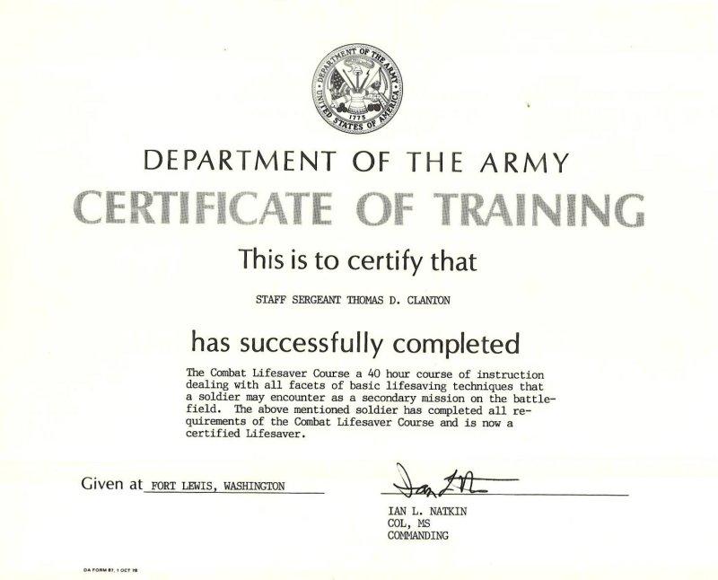 Combat Lifesaver Certificate Template wwwpicsbud