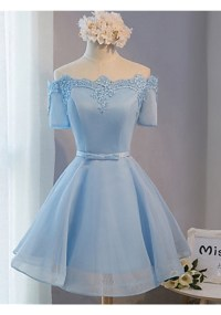 Elegant Off The Shoulder Lace Satin Short Prom Dresses ...