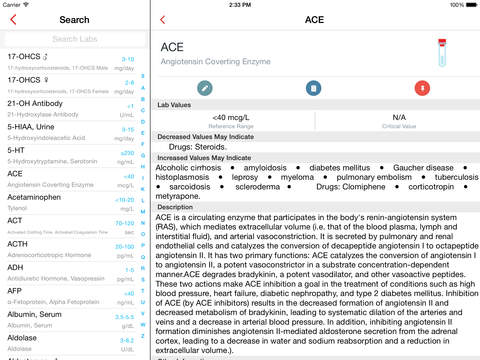 Lab Values Reference iPad