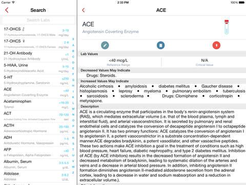 Lab Values Reference iPad