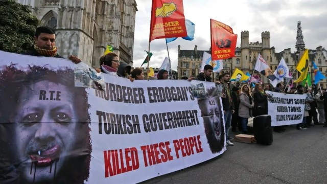 Feb. 4, 2016: Kurds demonstrate outside the conference center in London.