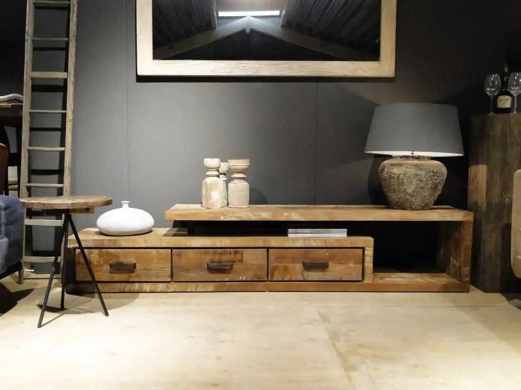 Tv meubel eiken staal cm firma hout staal tv meubel staal