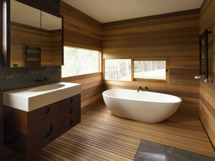 Holz Bad Bathroom With Wood Panel Walls