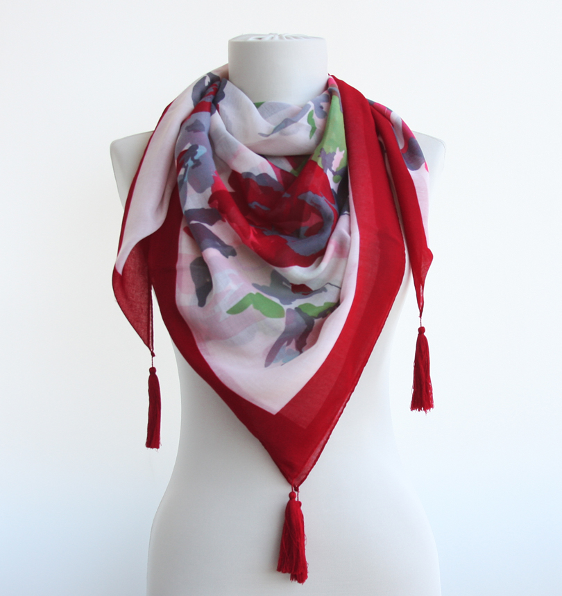 Red Tassel Scarf Summer Scarves Spring Scarves on Luulla