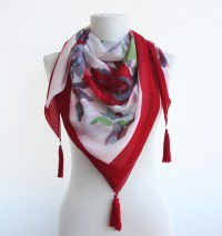 Red Tassel Scarf Summer Scarves Spring Scarves on Luulla
