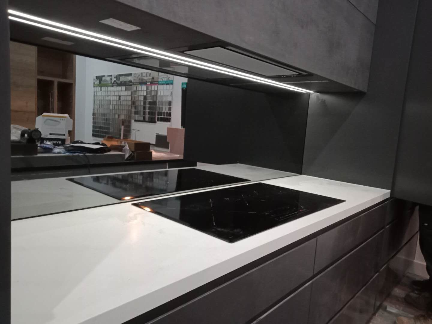 Kitchens Drummoyne Victoria Color Glass Grey Mirror Splashback Installed