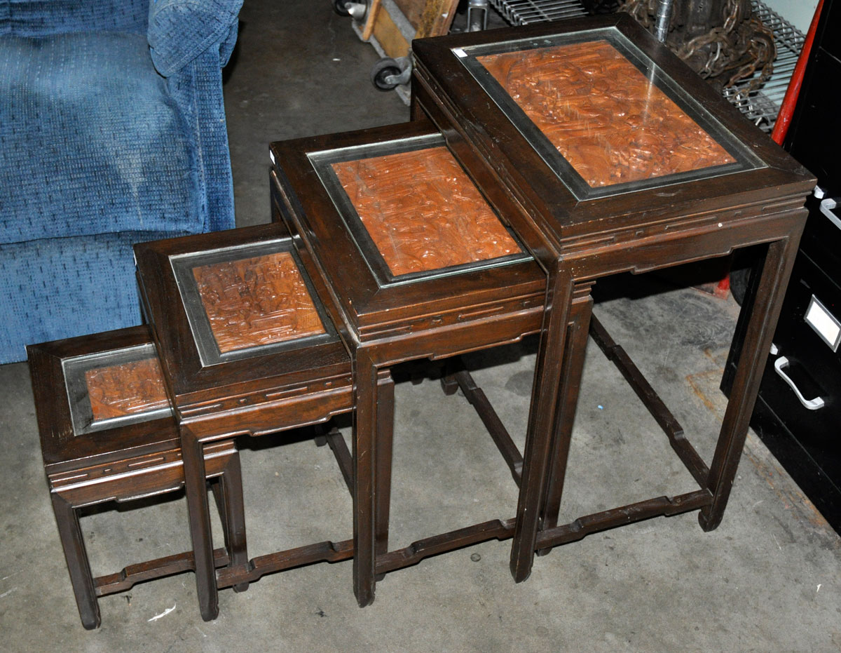 Asian Nesting Tables 71 Set Of 4 Nesting Tables With Asian Carved Inserts And