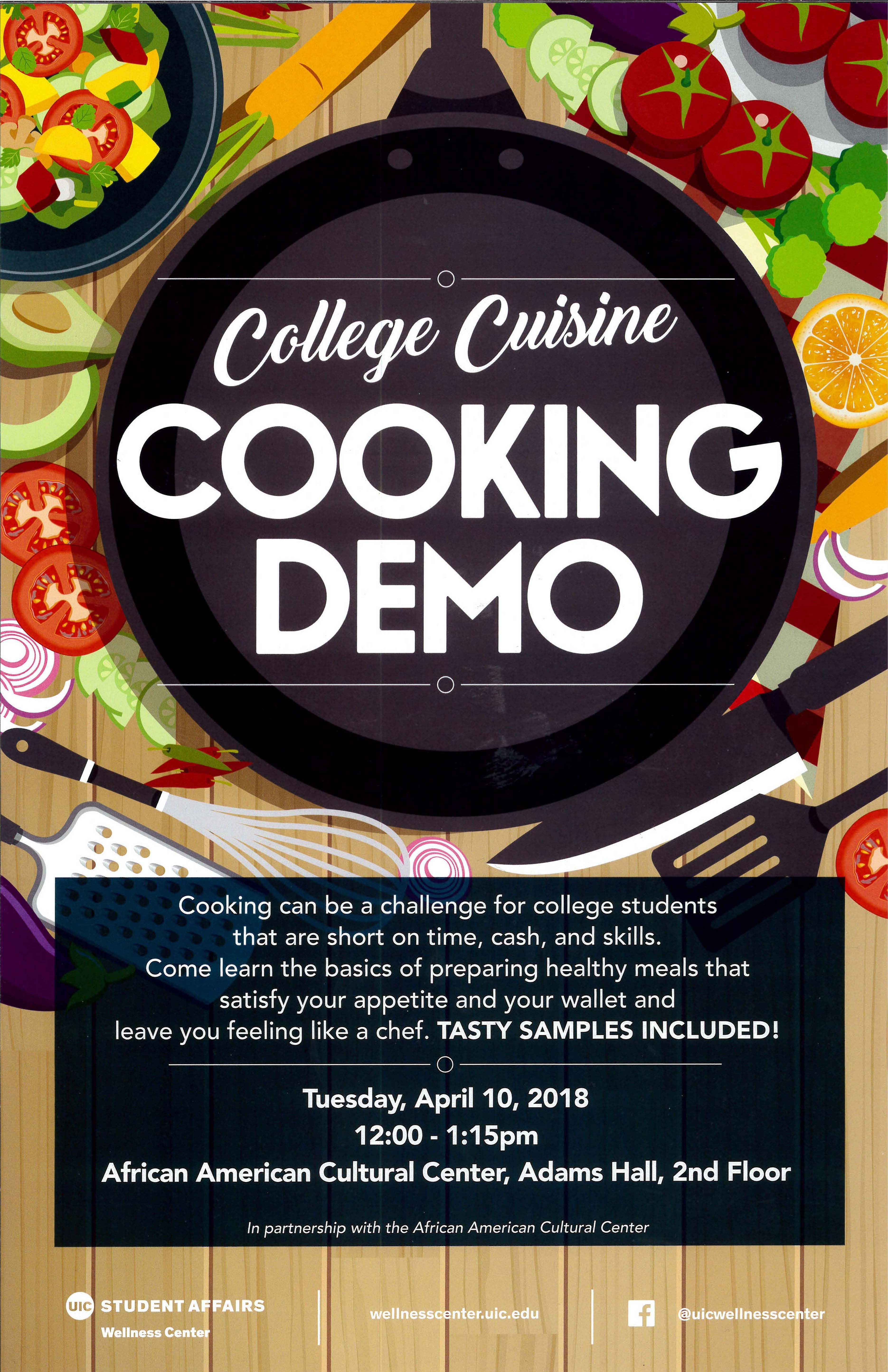Poster Cuisine College Cooking Demo Poster African American Cultural Center