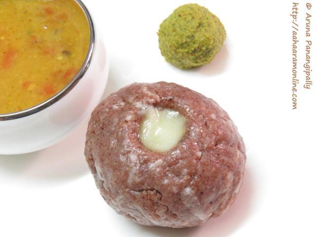 Ragi Sangati - Andhra Style Ragi Mudde or Ragi Kali