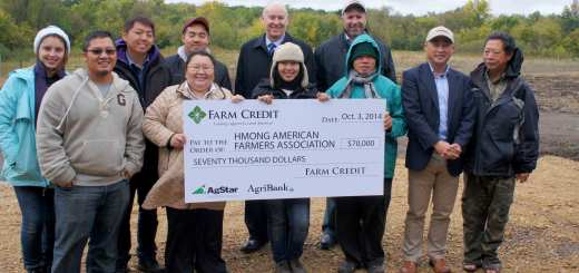 """""""Two Minnesota Farm Credit Organizations presented a $70,000 grant to the Minnesota nonprofit Hmong American Farmers Association (HAFA). Pakou Hang, executive director and founder of the HAFA, AgriBank CEO Bill York, AgStar Senior Vice President John Monson joined HAFA employees and farmers for the announcement at their 155 incubator farm south of Saint Paul on Friday."""""""