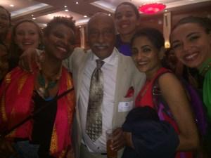 "Members of Ananya Dance Theatre with Mulatu Astatke, the ""godfather of Ethiopian jazz"" at U.S. Embassy Reception. Hilton Hotel, Addis Ababa, Ethiopia. Sept. 24, 2015. (Photo by James Davies)"