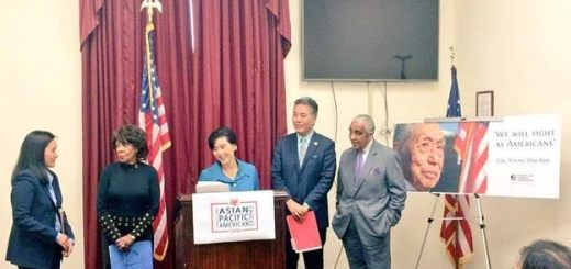 CAPAC Chair Rep. Judy Chu (CA-27) at the podium with other CAPAC members Tuesday to call on the White House to nominate Young Oak Kim for the Presidential Medal of Freedom.