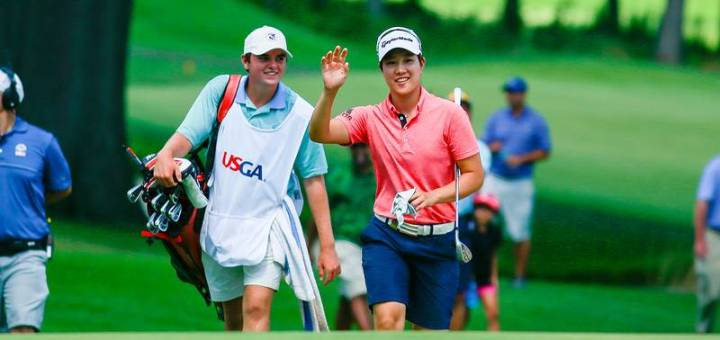 Eun Jeong Seong rallied from a five-hole deficit in Saturday's championship match to prevail, 4 and 2, over Andrea Lee. (USGA/Jeff Haynes)