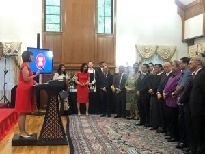 U.S. Rep. Betty McCollum (DFL, Minn-4), left, addresses guest at a Washington reception celebrating the 49th anniversary of the Association of South East Asian Nations (ASEAN). (Photo courtesy of the Republic of Indonesia.