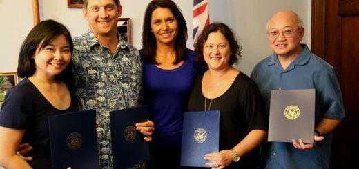 Hawai'i teachers presented with a Presidential Award for Excellence in Mathematics and Science Teaching in Washington on Friday, from left, Alicia Nakamitsu, Bryan Silver, U.S. Rep. Tulsi Gabbard (HI-2), Eliza Yoshida, Stan Mesina.