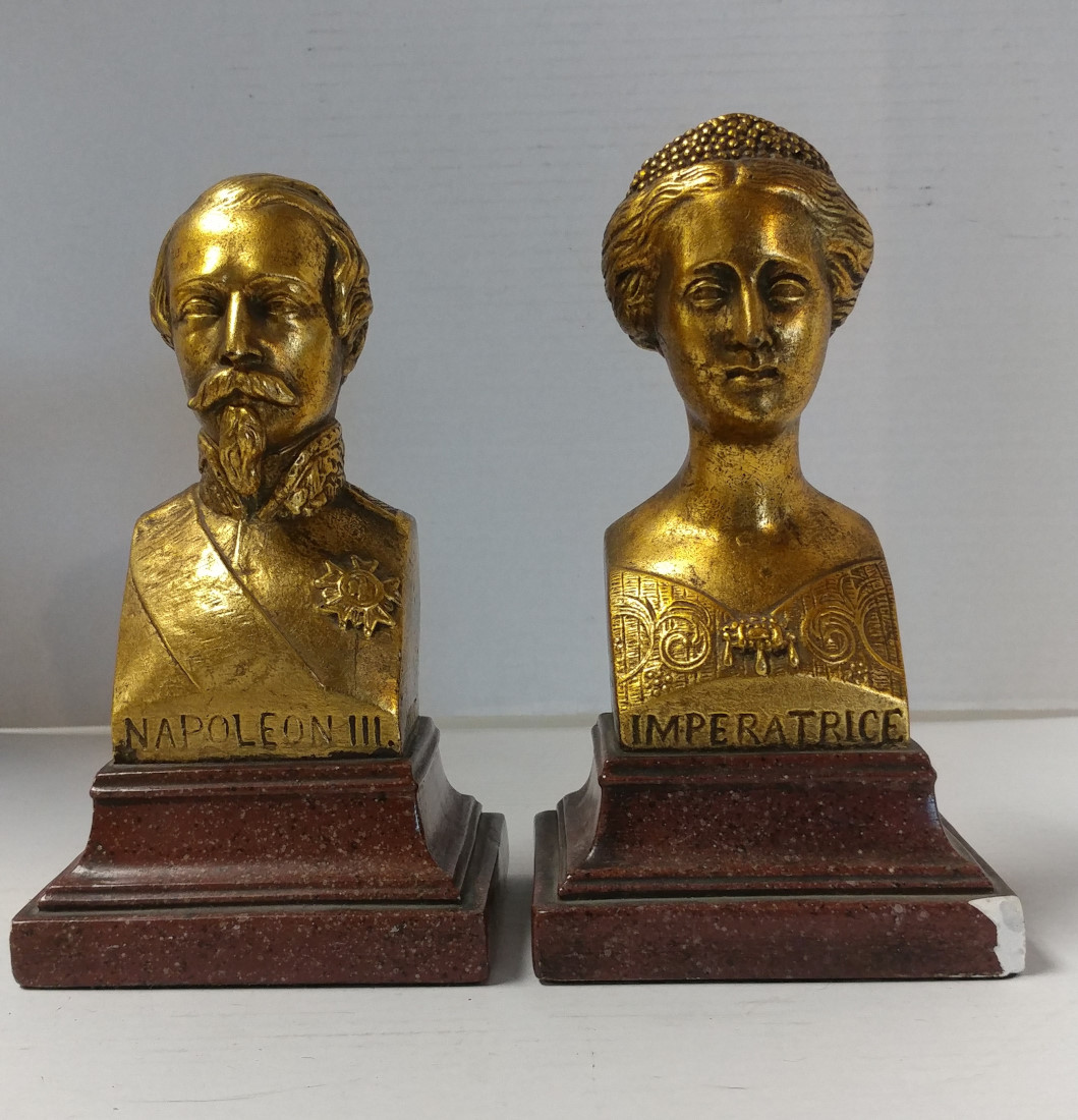 Classic Bookends Vintage Borghese Napolean And Eugenie Bookends Gold Gilt 7