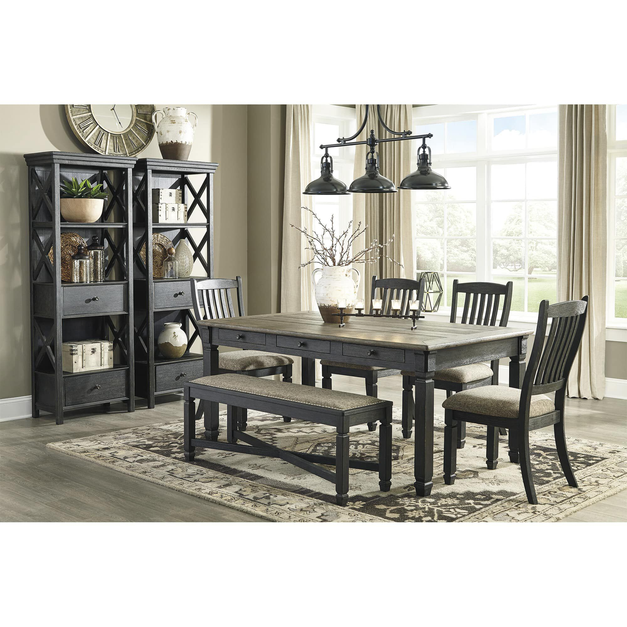 Juegos De Comedores 8 Piece Tyler Creek Dining Room With Display Cabinets