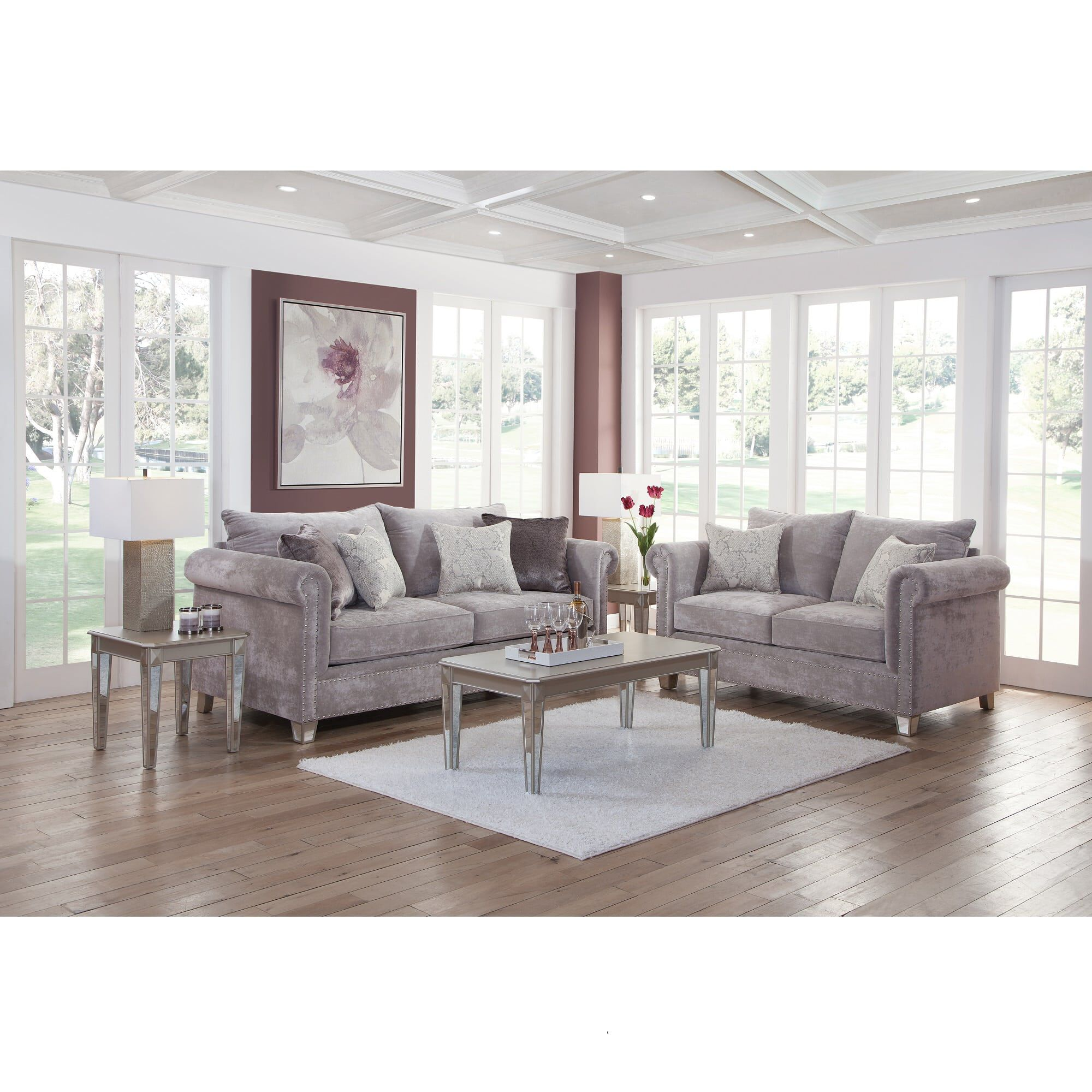 Grey Living Room Furniture 2 Piece Hollywood Living Room Collection
