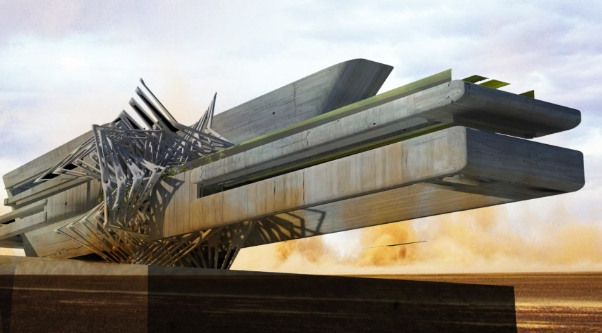 Solar Cluster and Heliostat Sand Turbine Hotel