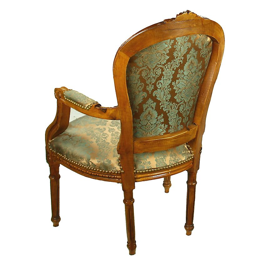 Mill Collection Louis Xv Straight Leg Blue Upholstered - Fauteuils Style Rococo