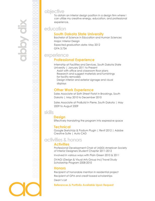 resume objective examples interior designer