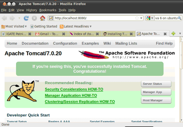 Open Tomcat in Web Browser
