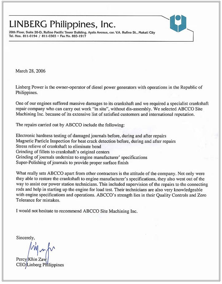 Endorsement Letter from Linberg Philippines ABC Grinding