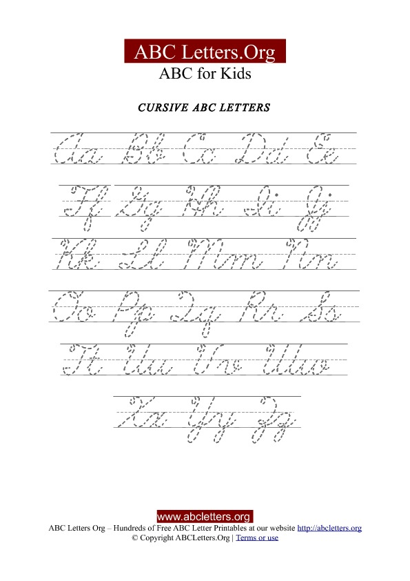 Printable Cursive Letter Tracing Chart Uppercase  Lowercase ABC