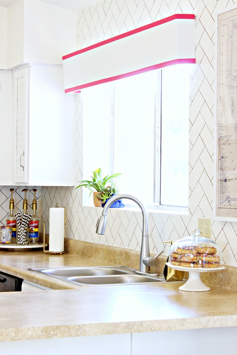Diy Herringbone Faux Backsplash A Beautiful Mess