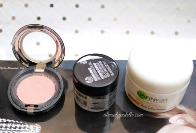 October Favourites: The Body Shop Cheek Color, The Body Shop Elderflower Eye Gel, Garnier White Complete Moisturizer