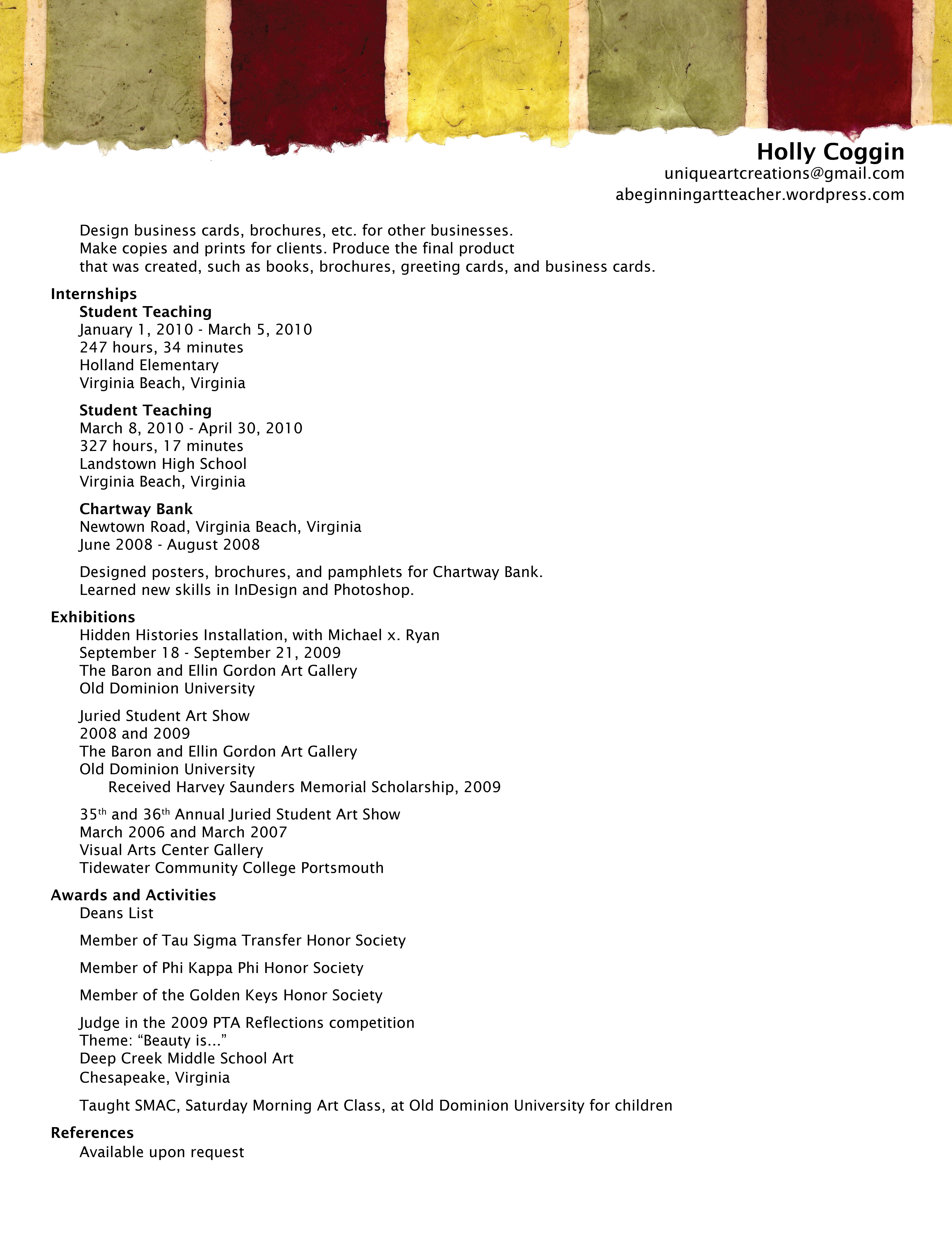 beginning teacher resume