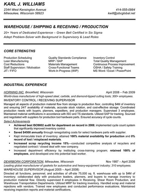 Resume Examples For Warehouse Supervisor – Warehouse Resumes Examples