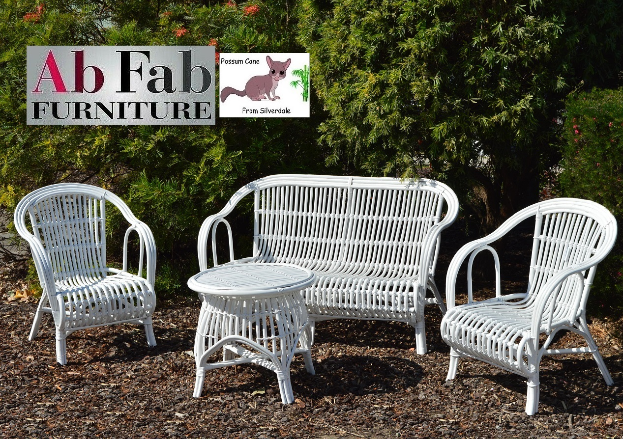 Cane Outdoor Lounge Setting Rattan Oz White Sofa 2 Chairs Round Coffee Table Possum Ab Fab Furniture Penrith - Outdoor Furniture Clearance Outlet Penrith