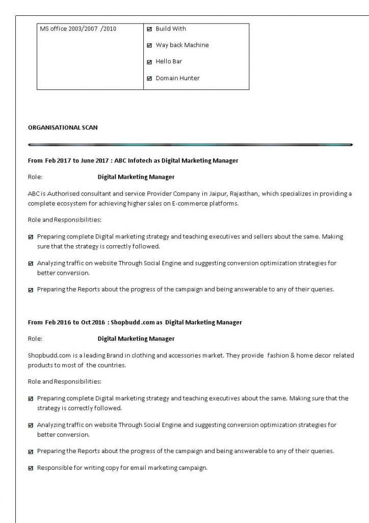 Digital Marketing Resume Sample Digital Marketing Training - digital marketing resume