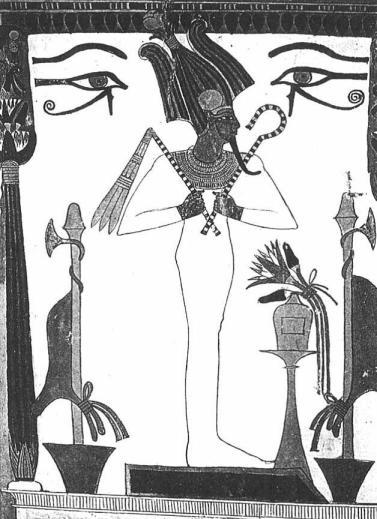 تصویر نقاشی شده ی ایزد اوزیریس دوره ی پادشاهی جدید sennutem در دیوار مقبره ی