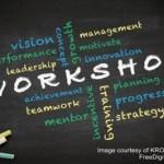 workshop written on chalkboard