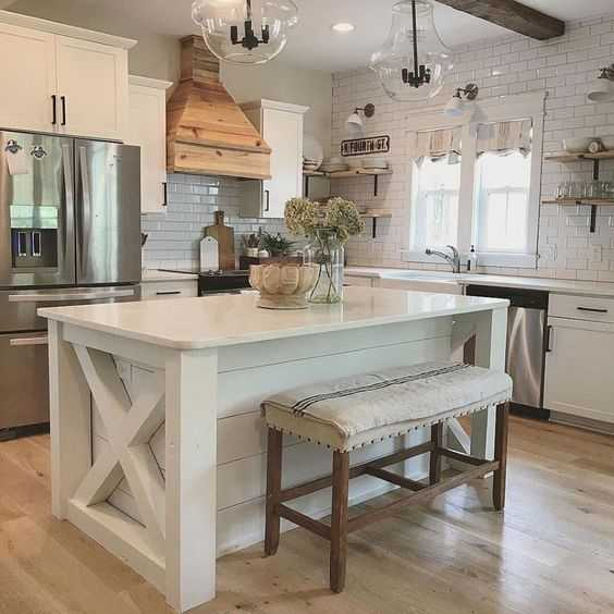 Americana Vintage Kitchen Island Farmhouse Kitchen Ideas For Fixer Upper Style + Industrial