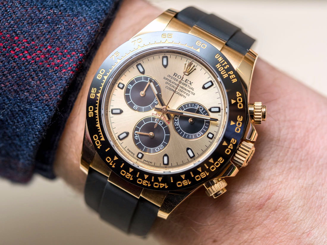 Rolex Rubber Rolex Cosmograph Daytona Watches In Gold With Oysterflex Rubber