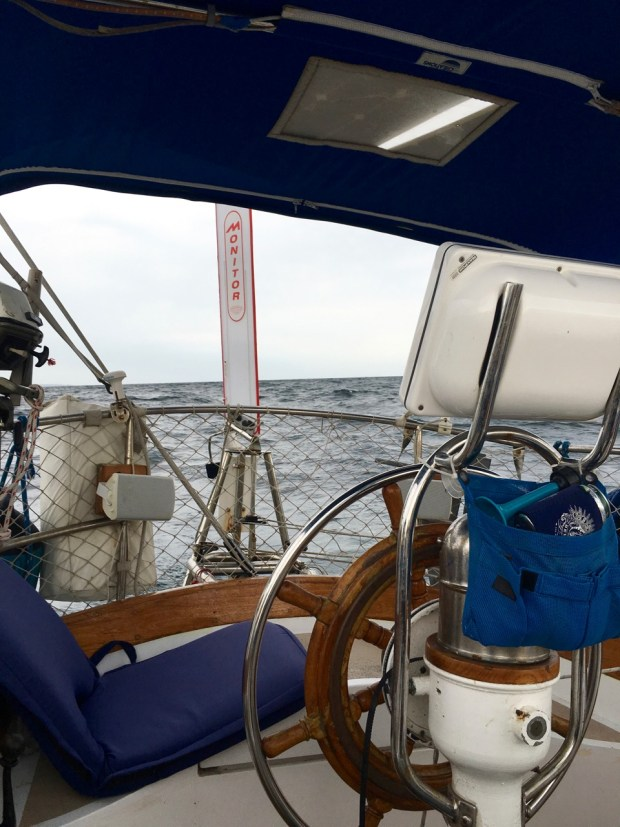 We let Windy, our Monitor Windvane do the driving until the wind quit and we started the engine