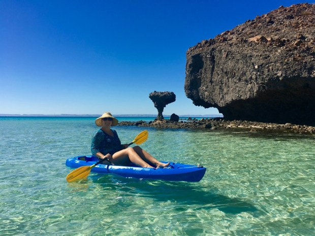 "I paddled into shore on the kayak past ""El Hongo"""