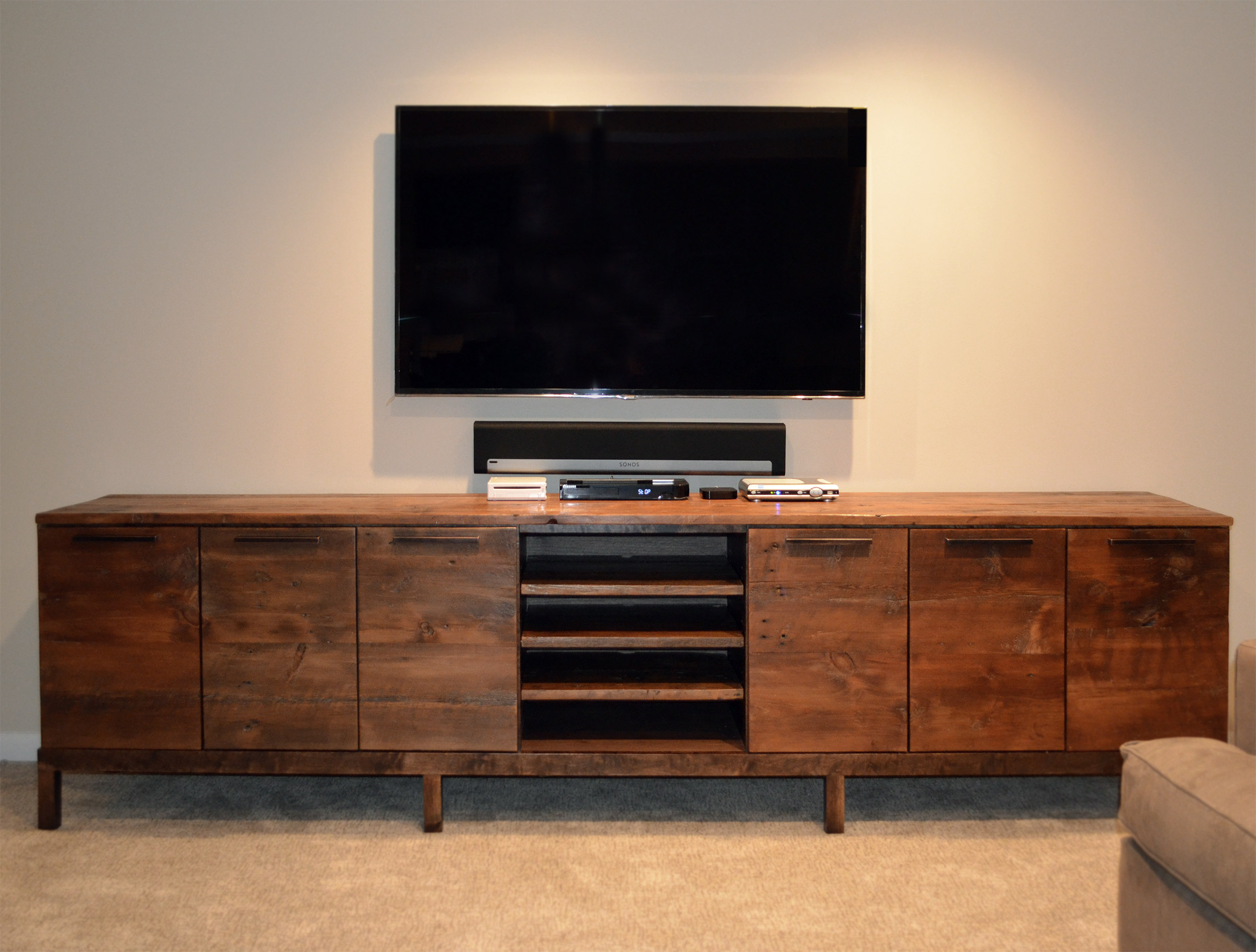 Tv In Front Of Window Interior Design Reclaimed Wood Media Center Console | Abodeacious